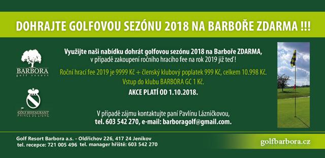 Dohrajte golfovou sezónu 2018 na golf resortu Barbora zdarma