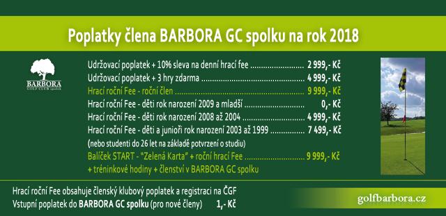 Poplatky ČLENA BARBORA GC na rok 2018