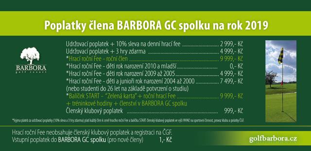 Poplatky člena BARBARA GC spolku na rok 2019